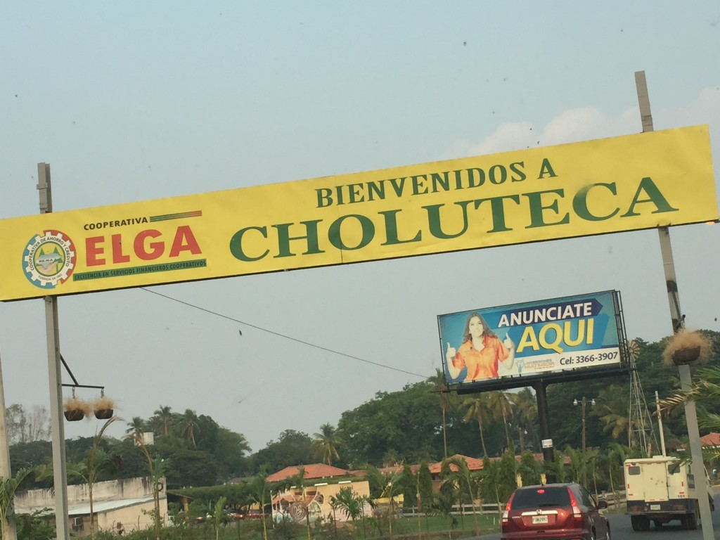 The sign we drove under when we made it to the Choluteca city limits.