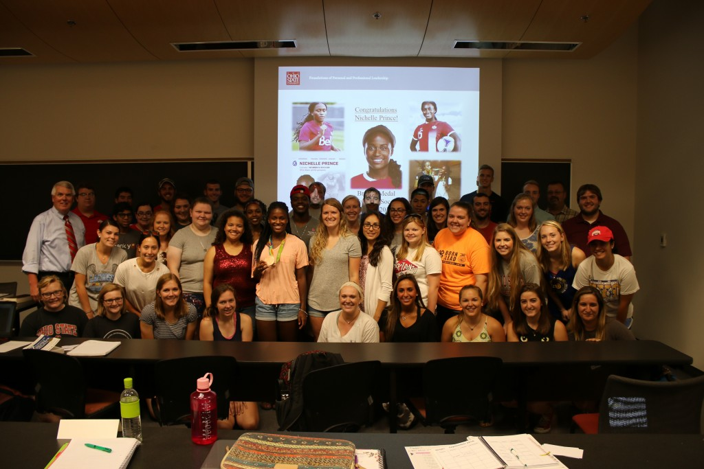 Community Leadership 3530 celebrates Nichelle's bronze medal at the Olympics with the Canadian women's soccer team.