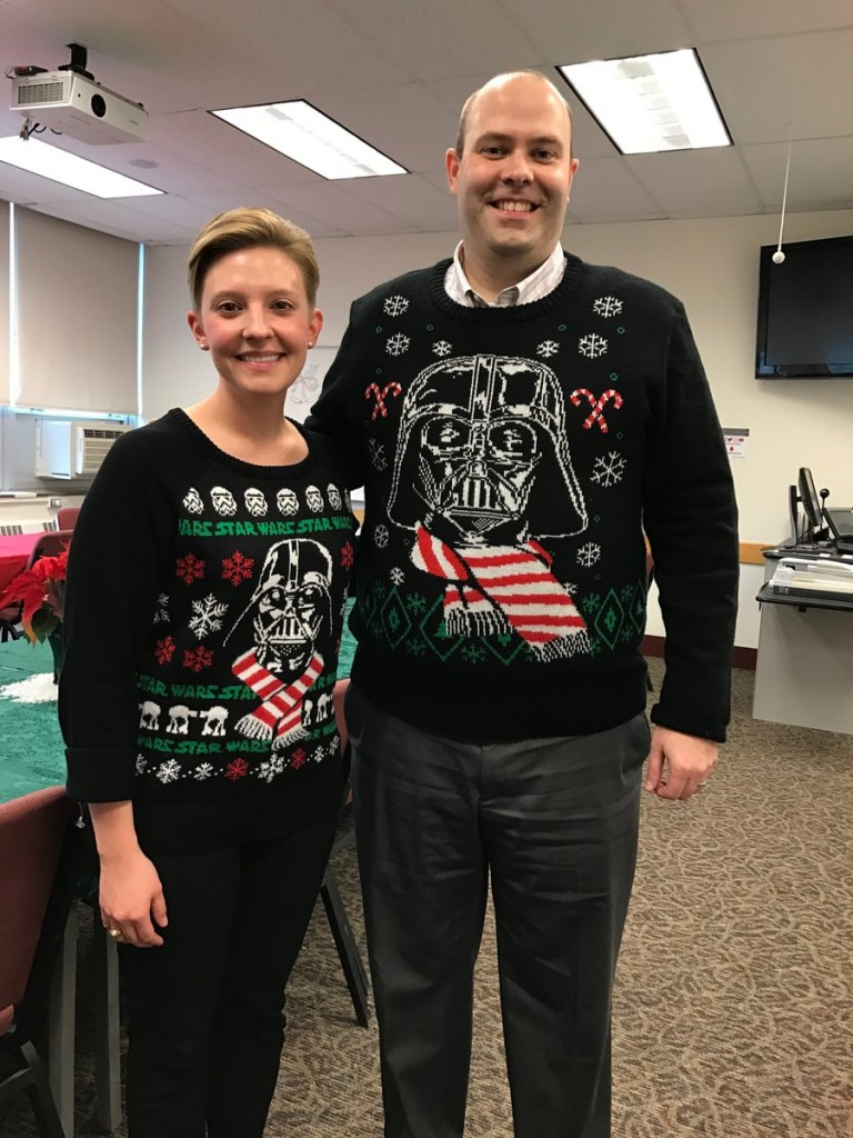 Dr. Specht and Dr. Kitchel both arrived in their favorite Christmas sweaters - Star Wars!