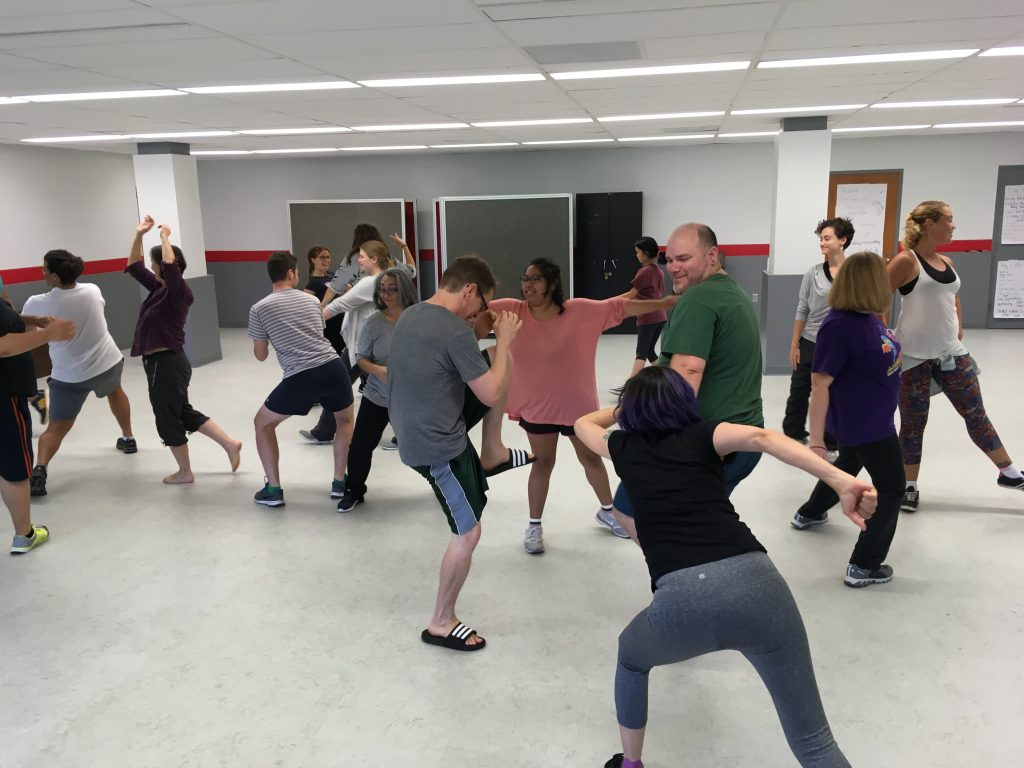 Participants at OSU Be the Street August 2017 Workshop with Albany Park Theater Project in a movement exercise
