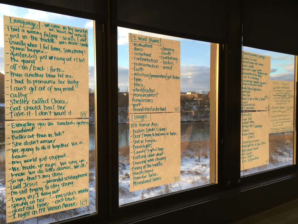 large post-it notes on a window