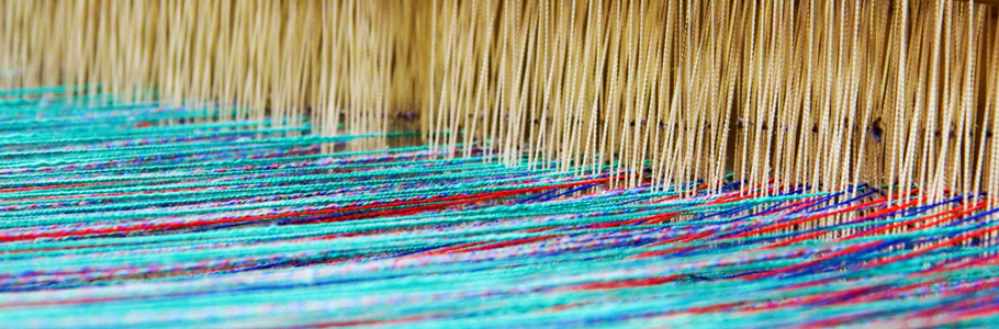 Image of threads in a loom