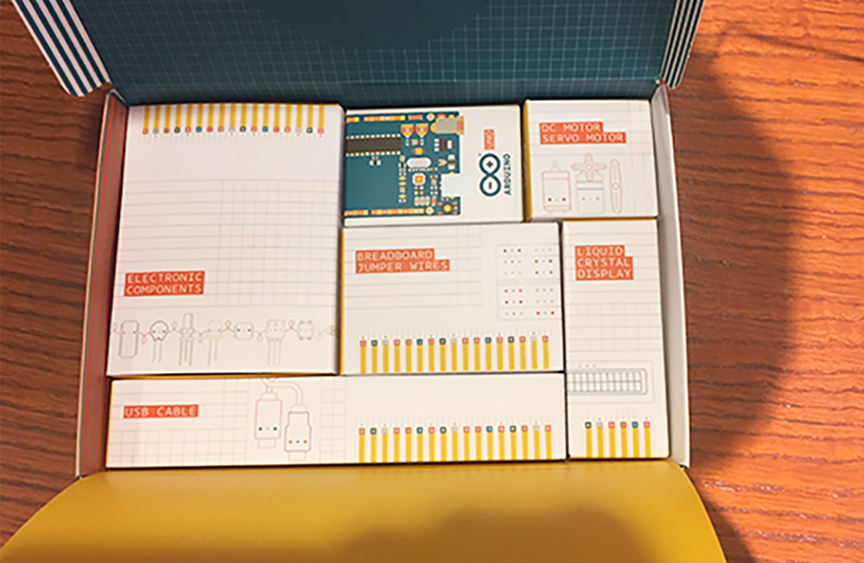 Photo of the Arduino starter kit