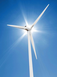 wind turbine in sun