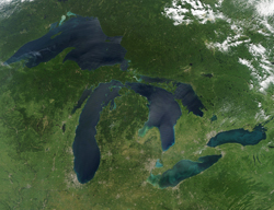 satellite photo of great lakes algal blooms for GB