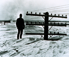 picture of man in deep snow