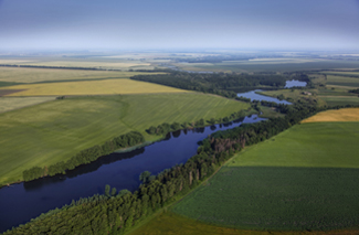 aerial view of farm and river for GB