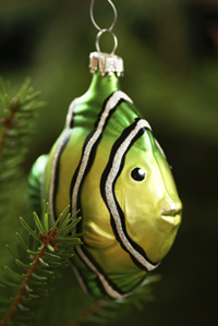 picture of fish ornament on christmas tree