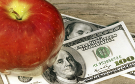 picture of apple and money