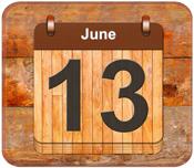 June 13 calendar date