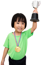 Image of girl holding trophy