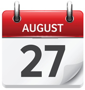 August 27. Vector flat daily calendar icon. Date and time