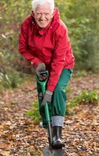 Senior man with spade in garden