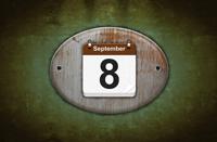 Old wooden calendar with September 8.