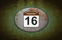 Old wooden calendar with September 16.