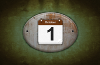 Old wooden calendar with October 1.