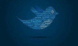 graphic adaptation of the twitter bluebird icon made up of the word twitter repeated multiple times