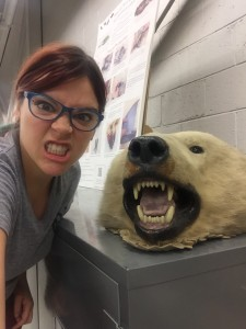 Abby poses with the polar bear head.