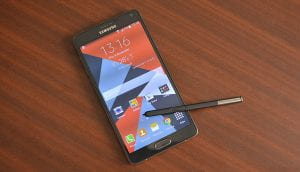 A Galaxy Note phone with a stylus