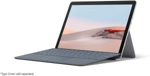 A Surface Go 2 in laptop mode.