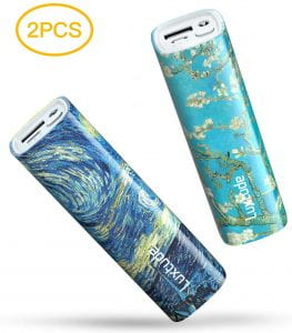 Two Luxtude myColors mini portable phone chargers.