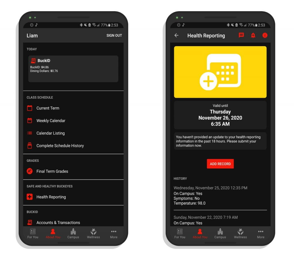 A pair of screenshots showing the About You and Health Reporting pages of the Ohio State app