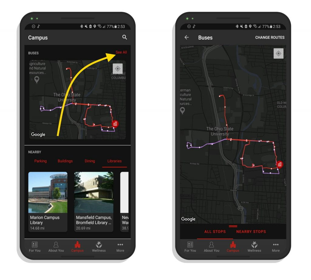 A pair of screenshots showing how to get to the bus routes screen.