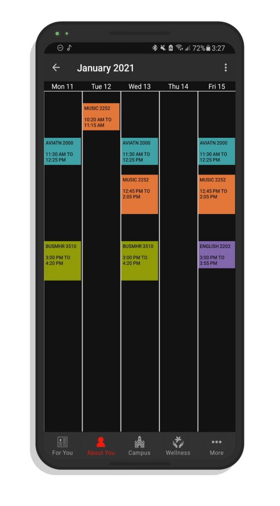 A screenshot of my class schedule in the Ohio State app.