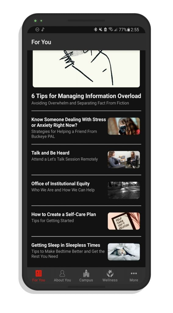 A screenshot of some articles on the Ohio State app.