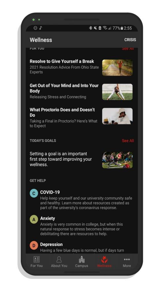 A screenshot of the wellness screen on the Ohio State app