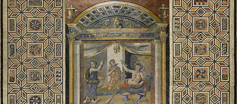 Mosaic pavement of the drinking contest of Herakles and Dionysos