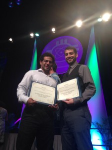 Shaun Hampton-Best Poster Presentation Physics (left) Steven Villanueva Jr.- Best Oral Presentation Astronomy (right)