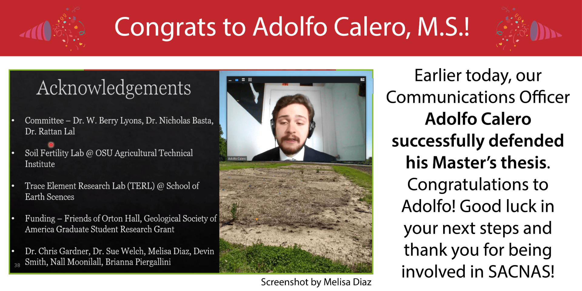Adolfo Calero Defended his Master's Thesis