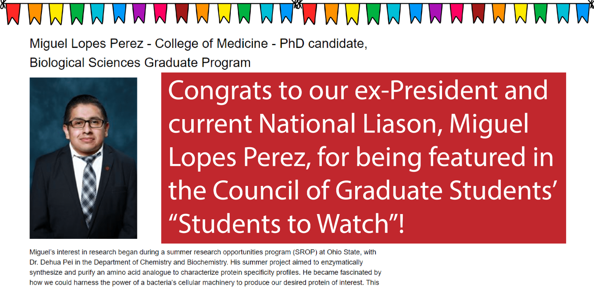 Miguel Lopes Perez was featured in the CGS' Students to Watch