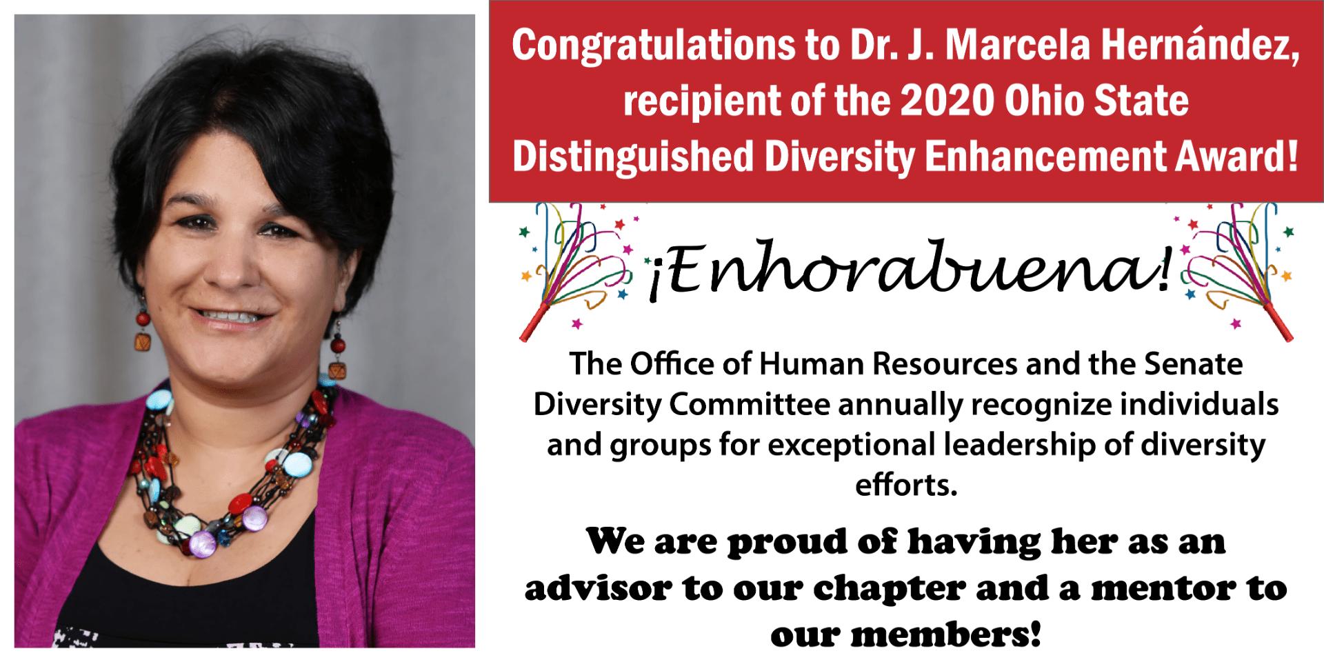 Dr. J. Marcela Hernandez won the 2020 Ohio State Distinguished Diversity Enhancement Award