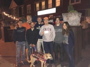 Stats graduate students play trivia on a crisp, fall evening
