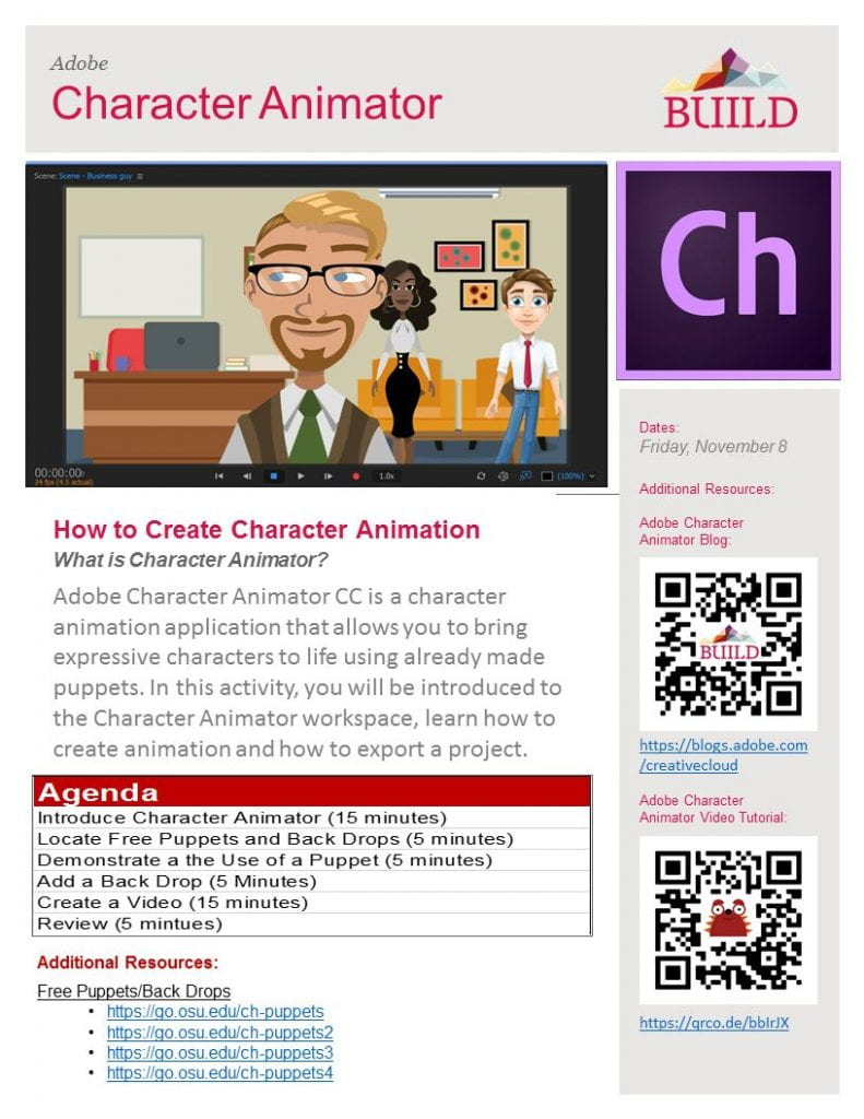 Image of Character Animator Agenda with a link to PowerPoint version