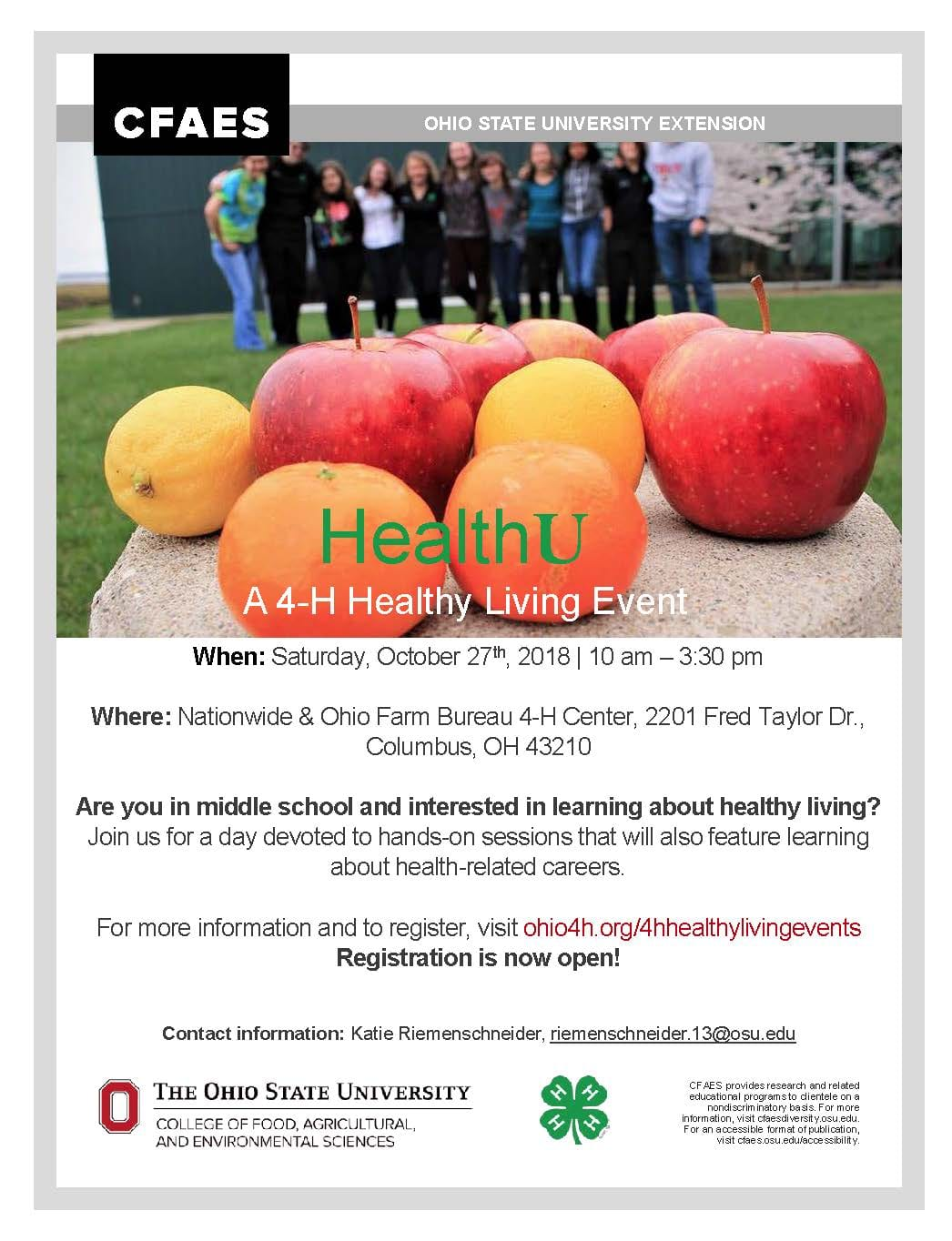 Middle School Youth: Attend HealthU – An event for youth