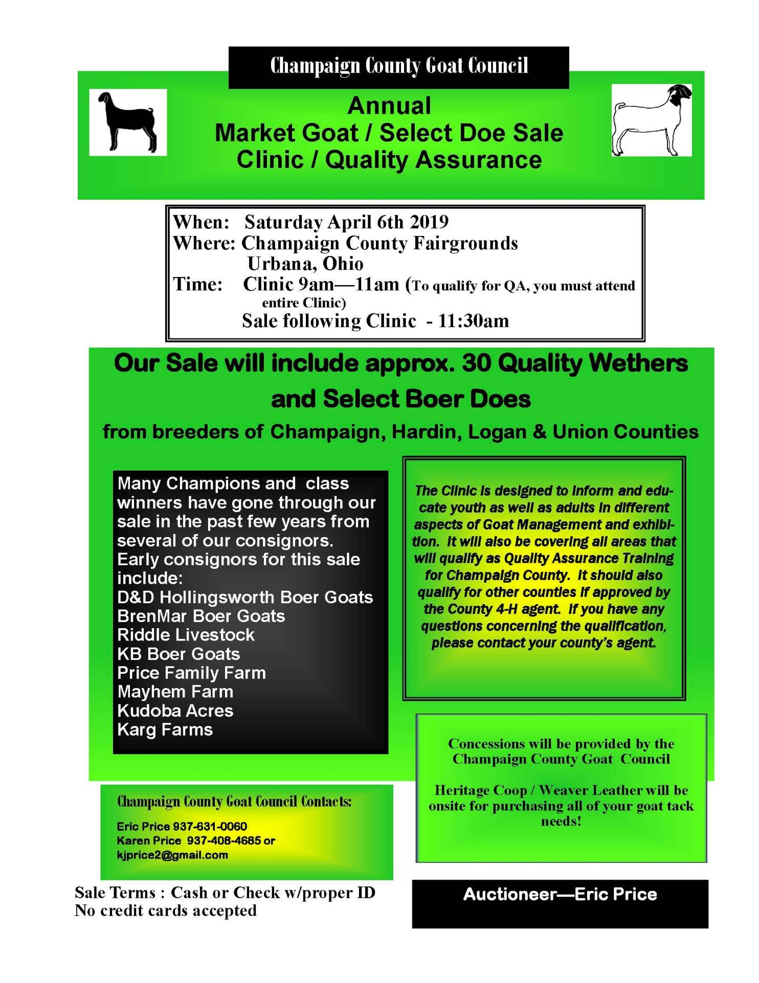 Quality Assurance Opportunity 4/13/2019 – Champaign County Goat