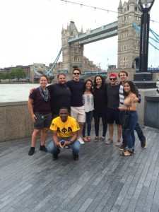 Pre-Law students pose in front of the Tower Bridge located in London.