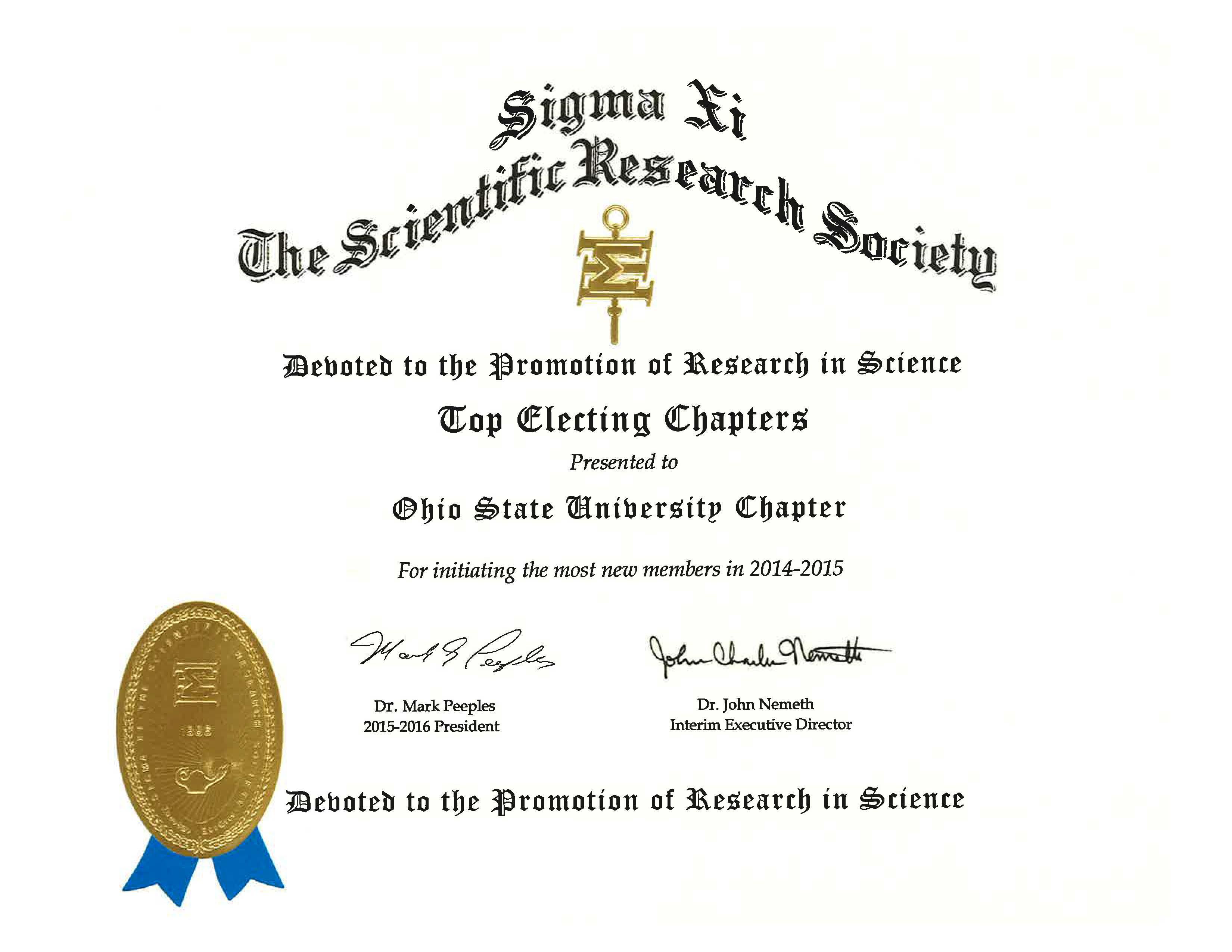 Sigma Xi Ohio State University