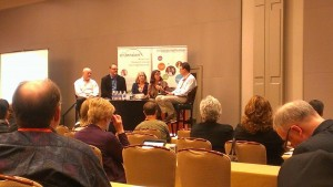 Expert panel session at NeXC. Harold Jarche, Dave Gray, Jane Hart, and Beth Kanter.
