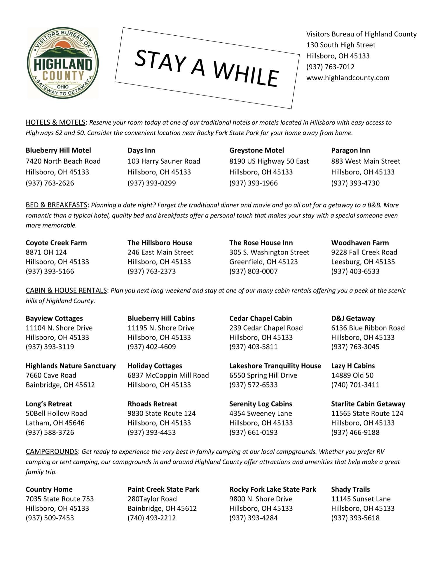 List of Highland County, Ohio lodging establishments