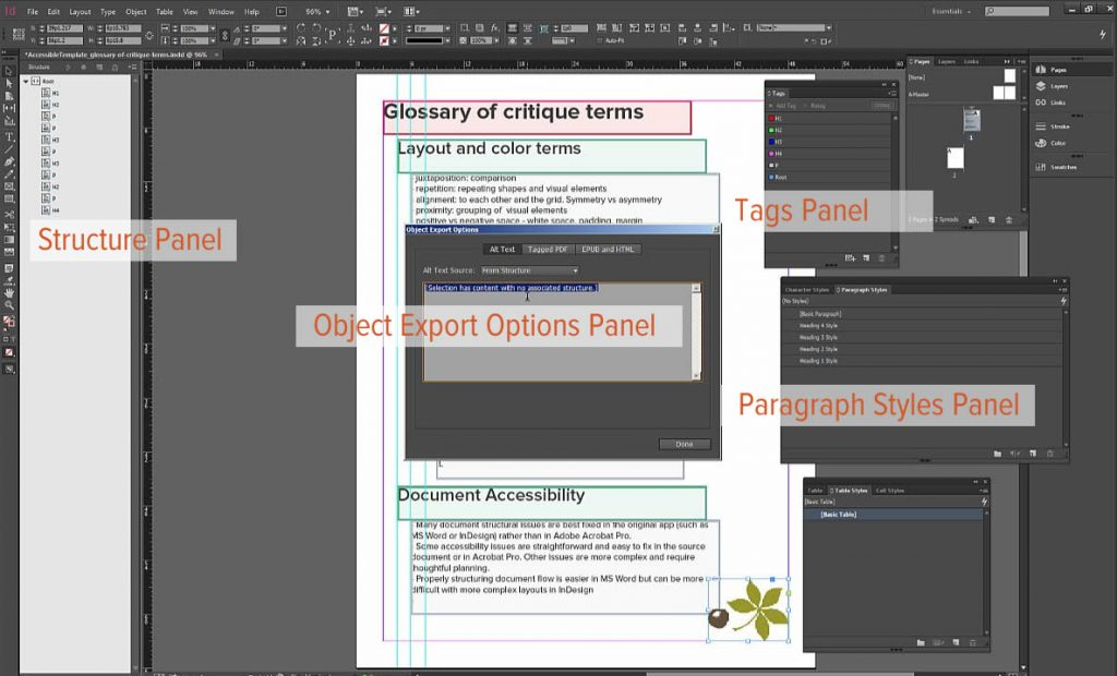 Document accessibility related panels in InDesign