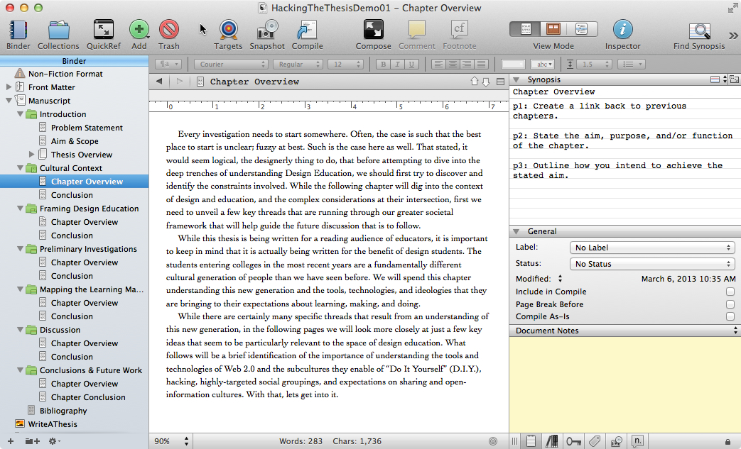 "thesis writing with scrivener I have already recommended scrivener in the references of ""organizing creativity"", but writing my dissertation thesis with it has led me to recommend it once more."