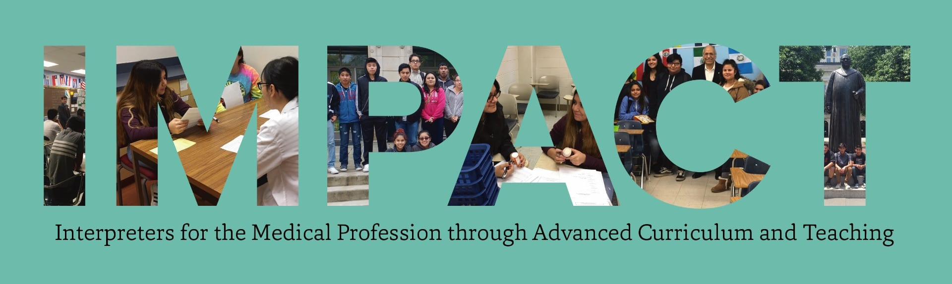 IMAPCT banner with pictures of students