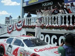 Kyle Larson celebrates his win in ARCA's Pocono 200 on June 7th. Photo taken by me.