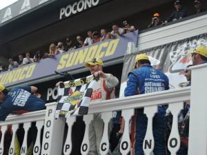 Dale Earnhardt Jr celebrates in Victory Lane for the Pocono 400. Photo taken by me.