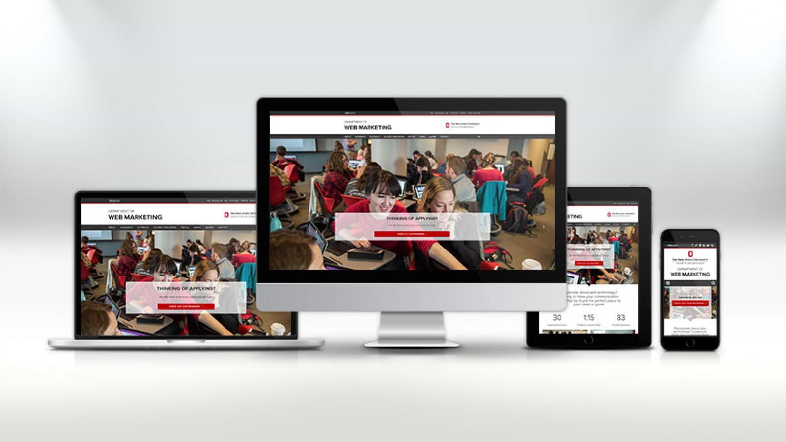 Electronic devices displaying the ASC Web Marketing website