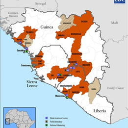 West African countries affected by Ebola.